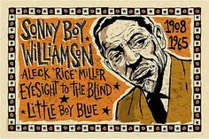 Sonny Boy Williamson Poster- signed by Grego - blues folk art - mojohand.