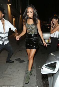Hot to trot: Leigh-Anne Pinnock rocked another daring, skintight ensemble as she exited London's Mahiki nightclub in Mayfair on Wednesday after an evening out on the town