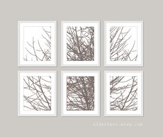 Modern Tree Branches Wall Art Print Set of Six Taupe by AldariArt