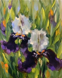 Purple Dancers Iris Painting by Nancy Medina    http://paletteknifepainters.blogspot.com/2013/03/purple-dancers-iris-painting-and-dallas.html?utm_source=feedburner_medium=email_campaign=Feed%3A+PaletteKnifePainters+%28Palette+Knife+Painters%29