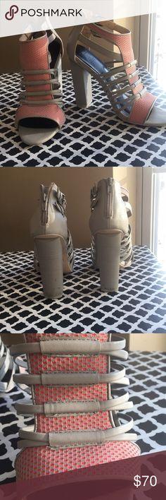 Wide heel open toe shoes Light gray heels with pink design and buckle detail Shoes Heels