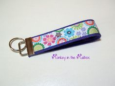 Colorful flower Key Fob Key Chain Key Ring by MonkeyintheMailbox