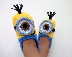 Ganchillo Minion despreciable Me botitas de bebé, Minion zapatillas - con suelas antideslizantes (para niños de 1 años de edad y más)