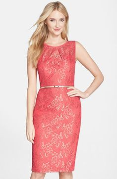 Ellen Tracy Belted Metallic Sheath Dress available at #Nordstrom