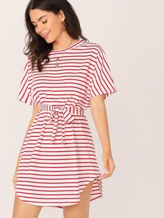 To find out about the Batwing Sleeve Self Belted Curved Hem Striped Dress at SHEIN, part of our latest Dresses ready to shop online today! Belted Dress, Striped Dress, Dress Skirt, Pop Fashion, Fashion Outfits, Fashion Ideas, Fashion Black, Trendy Outfits, Vintage Fashion