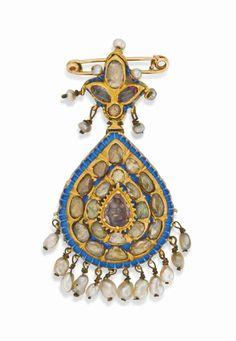A gemset enamelled gold pendant Qajar Iran, 19th century #christiesjewels