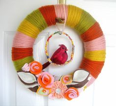 Pink and Orange Scraps Yarn Wreath