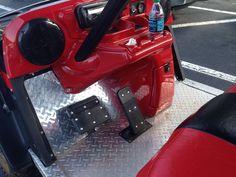 Diamond plate floor panels customize any golf cart. Custom Golf Cart Bodies, Custom Golf Carts, Lifted Golf Carts, Golf Cart Covers, Golf Cart Parts, Golf Apps, Golf Cart Accessories, Golf Club Grips, Public Golf Courses