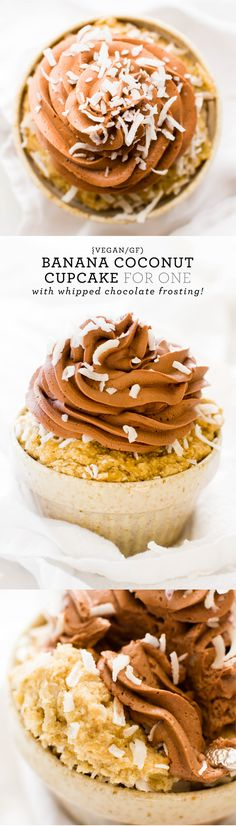 Banana Coconut Cupcake with Whipped Chocolate Frosting {vegan, gluten-free, oil-free}