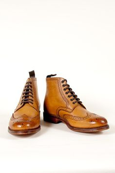 tan leather brogue derby boot by Grenson