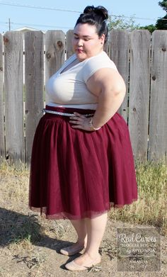 "Blogger Amanda (5'4"") from FashionLoveandMartinis.com is effortlessly beautiful in our plus size Twirling in Tulle Skirt. A nude top and flats really allow the dress to make a statement and the belt is the perfect addition. Adorable! www.kiyonna.com #KiyonnaPlusYou #Plussize #MadeintheUSA #Kiyonna #OOTD"