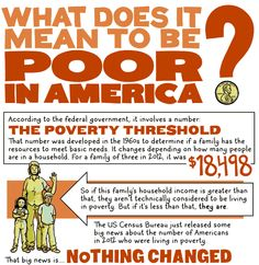(1 of 6) What Does It Mean to Be Poor in America? [Click on this image to find a video and analysis exploring the forces driving inequality for all] According to the federal government, it involves a number: The Poverty Threshold. That number was developed in the 1960s to determine if a family has the resources to meet basic needs. It changes depending on how many people are in a household. For a family of three in 2012, it was $18,498-Artist: Andy Warner (http://andysaurus.com/)