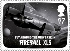 Stamp showing Gerry Anderson tv show Fireball XL5.