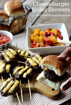 Cheeseburger Sliders Skewers | on PocketChangeGourmet.com