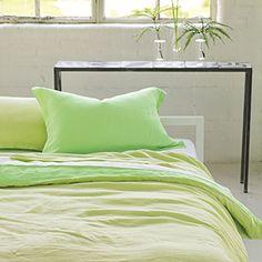 Biella Apple & Pistachio - stylish reversible pure linen