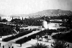 Αθήνα, 9 Οκτωβρίου 1938, τα αποκαλυπτήρια του ανδριάντα του Βασιλέα Κωνσταντίνου Α΄, παρουσία της Σχολής Ευελπίδων στο Πεδίον Άρεως. Athens, Paris Skyline, Travel, Viajes, Trips, Tourism, Traveling