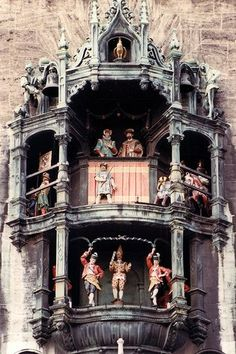 Munich (Glockenspiel).   Part of the Town Hall in Munich. When the clock chimes, the figures dance.
