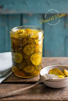 Bread And Butter Pickles With Cucumber, Onions, Sea Salt, White Vinegar, Water, Sugar, Mustard Seeds, Celery Seed, Turmeric