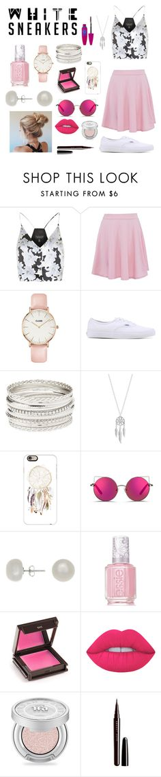 """""""Cute and fun with the girly style. Based the look off of the skirt worked my way from the accessories to the jewelry. Love the sunglasses!"""" by lara-girl ❤ liked on Polyvore featuring Topshop, CLUSE, Vans, Charlotte Russe, Lucky Brand, Casetify, Matthew Williamson, Jardin, Essie and Jouer"""