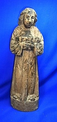 Antique German 18th Century Handicraft Wood Carved Christianity Figurine