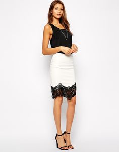 Lipsy+PU+Pencil+Skirt+with+Lace+Trim