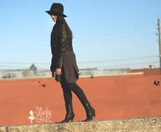 Look for Less :: Nikki Reed | teen fashion, outfit ideas, tv fashion, black booties, sweater waist, all black, date night outfit ideas, casual outfit ideas, black leather jacket, celeb style, black hat fedora