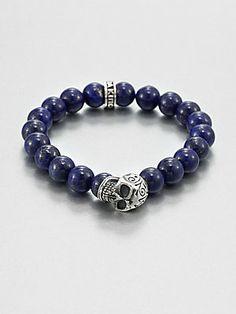 King Baby Studio Sterling Silver Beaded Skull Bracelet/Lapis