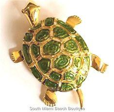 Gold Green Enamel Sea Turtle Pin Brooch Plated Turtles Sea Life Island Beach USA #seaturtles
