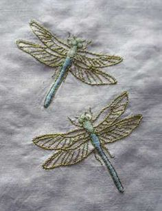 I ❤ embroidery . . . I love these two dragonflies. It looks like the wings are worked in a metallic thread, and the bodies in two tones of floss. Nice!