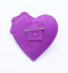 ESTHER A Retro Style Purple Flower Heart Felt by CherryPips