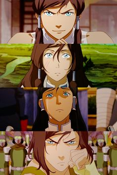 Korra Book 1 to Book 4!!!!! Last season was amaaaaaaazing! Not expecting much from this season but I have been impressed and now I am content. But Korra is looking more hardcore at the end of episode one so that's exciting haha