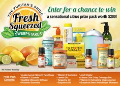 I just entered the Puritan's Pride 'Fresh Squeezed' Sweepstakes for a chance to win a sensational citrus prize pack worth $200.  You should too!