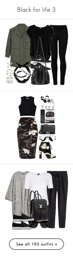 """Black for life 3"" by pihli-sa ❤ liked on Polyvore featuring MANGO, Wolford, Cosabella, NIKE, New Look, Links of London, Forever 21, Dolce&Gabbana, River Island and Chanel"