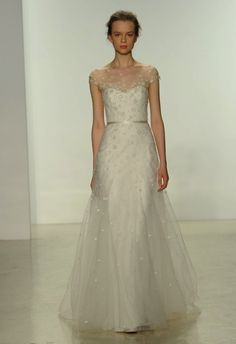 Illusion neckline wedding dress by Christos | Hottest Dresses from New York Bridal Fashion Week Spring 2015