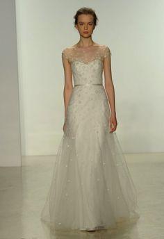 Illusion neckline wedding dress by Christos | Hottest Dresses from New York Bridal Fashion Week Spring 2015