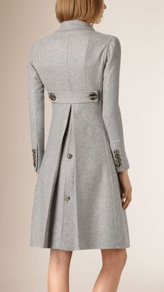 Tailored Double-Breasted Cashmere Coat Light Grey Melange | Burberry