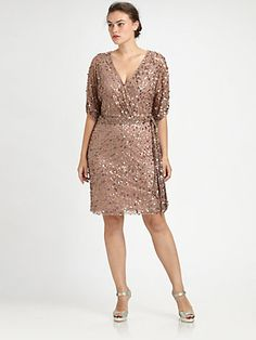 Aidan Mattox, Salon Z - Sequin Wrap Dress - Saks.com