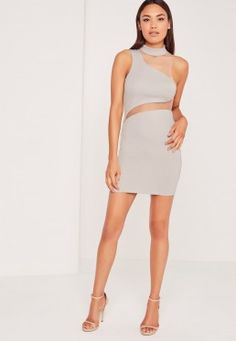 Asymmetric Neck Mesh Insert Mini Dress Grey