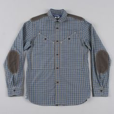 JUNYA WATANABE MAN PATCHWORK CHECK SHIRT - BROWN/GREEN