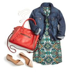 Love this outfit. I have a denim jacket and similar shoes, would love to pair them with a dress like this.