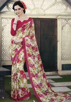 Crepe Saree, Georgette Sarees, Casual Saree, Classy Casual, Traditional Sarees, India Fashion, Saree Collection, Sarees Online, Indian Dresses