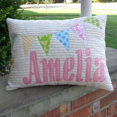 Bunting Flags Personalized Pillow by tedandlucy on Etsy, $25.00