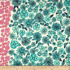 Designed by Alexia Abegg for Cotton + Steel, this very lightweight fabric is a finely woven, high count combed cotton lawn that is very soft and has an ultra smooth hand. It is perfect for flirty blouses, dresses, shirts, lingerie, tunics, tops and even quilting. Colors include aqua, navy and white with a 3'' wide pink floral border along one selvedge.