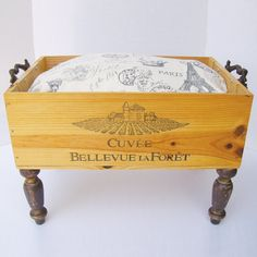 Wine Crate Pet Bed With Soft Brown Minky Or Paris Theme Fabric Pillow And Shabby…