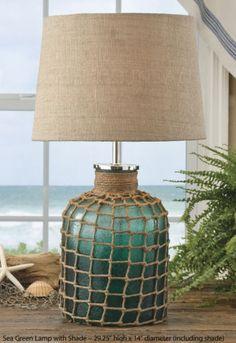 Sea Green Lamp with Shade by Park Designs 29 High Textured Beach Style Seaside Decor, Beach House Decor, Coastal Decor, Coastal Cottage, Coastal Homes, Coastal Living, Nautical Lamps, Nautical Lighting, Green Lamp