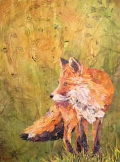 """The Watcher"" (torn paper collage and acrylics, 24×18) by Patricia Henderson, honorable mention in the Cloth Paper Scissors Mixed Media Excellence Awards #art #acrylic #fox"
