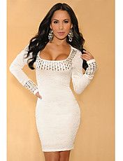 White Pleated Studded Long Sleeves Dress(Hip:... – USD $ 19.79