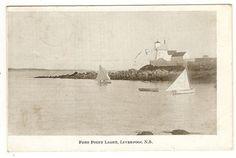 FORT POINT LIGHT HOUSE LIVERPOOL NOVA SCOTIA POSTCARD 1907 -BLANDFORD N. S. S/R