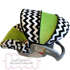 Black and White Chevron with JADE Infant Car Seat Cover on Etsy, $65.00
