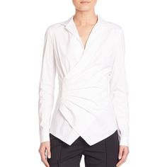 Lafayette 148 New York Odetta Ruched Blouse featuring polyvore, women's fashion, clothing, tops, blouses, apparel & accessories, white, ruched long sleeve top, ruched tops, white long sleeve top, white ruched top and surplice blouse